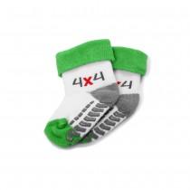 Skoda Baby Socken 4x4 Größe 12-14 Söckchen Anti Rutsch Strümpfe Weiß Grün Grau Babysocken