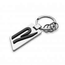 VW R Metall Schlüsselanhänger 5H6087010 Anhänger Keyring Silber Schwarz Original