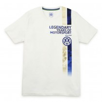 VW Herren T Shirt Motorsport S M L XL XXL XXXL T-Shirt Weiß Kurzarm Aufdruck Legendary years of Motorsport Original