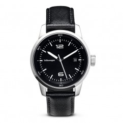 Volkswagen Leder Armbanduhr Schwarz Edelstahl