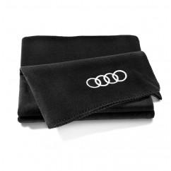 Audi Fleecedecke schwarz 180x130cm Ringe 3291700800 Picknickdecke Stranddecke Original Zubehör Kollektion