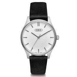 Audi Damen Uhr 3101900700 Silber Schwarz Armbanduhr Watch Edelstahl Rindsleder Original