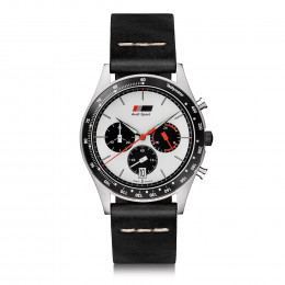 Audi heritage Herren Chronograph 3102000100 Schwarz Weiß Uhr Armbanduhr Watch Original